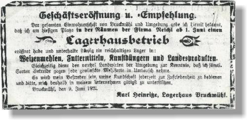 Gründungsanzeige von 1923