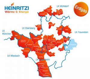 Liefergebiet HEINRITZI Erdgas