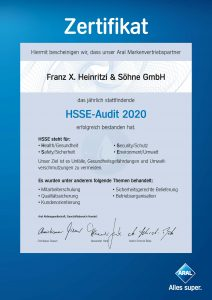 HSSE Zertifikat 2020