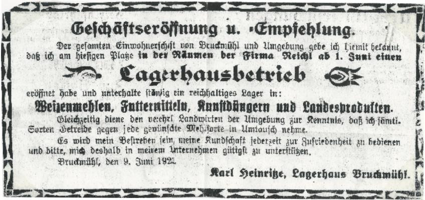 Gründungsanzeige 1923